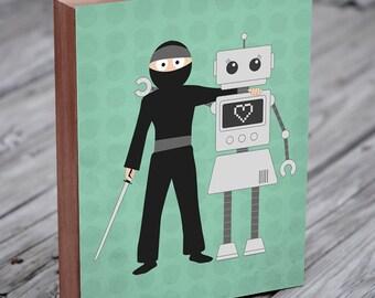 Robot Art - Ninjas and Robots are Friends - Wood Block Art Print