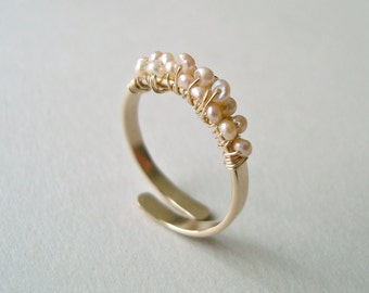 Tiny Pink Pearl Ring, Adjustable Pearl Wire Ring, Wire Wrapped Pearl Ring, Stacking Ring, Gold Filled or Sterling Silver