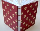 Coptic Stitch Journal, Red Hardcover Journal with Telephone Token Pattern