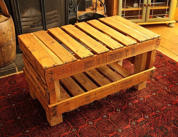 coffee table made with vintage fruit crates by