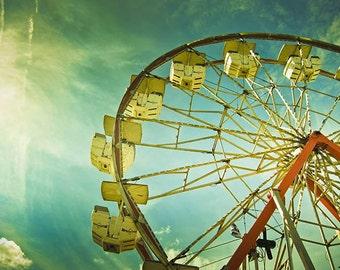 Summer Day, County Fair, Ferris Wheel Fine Art Photography Print, Wall Art, Colorful, Fair, Carnival, 11x14 print