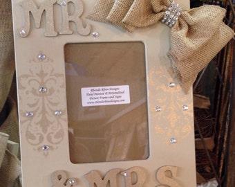 Hand Painted Mr & Mrs 5x7 Wedding Frame