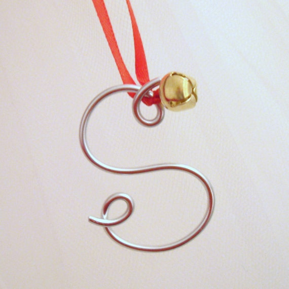 silver wire letter ornament christmas gift tie on or gold With silver letter christmas ornaments