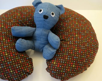 Boppy Nursing Pillow Cover: Colorful Polka Dots on Brown Flannel