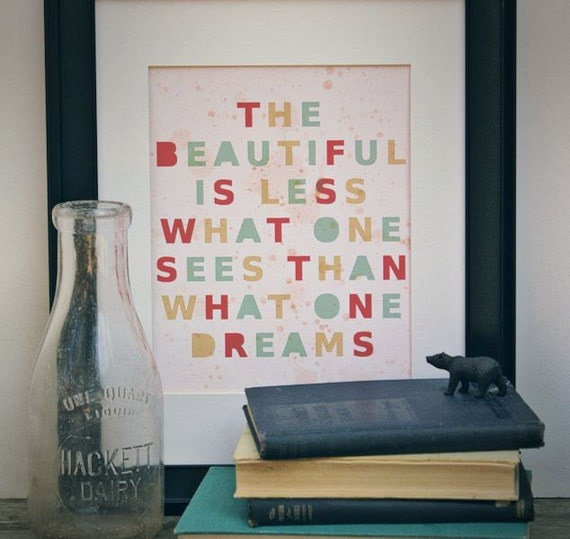 Beautiful Dreams // Typographic Print, Inspirational Decor, Vintage Stencil Style, Proverb, Quotes, Digital Print, Poster Print, Giclee