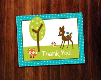 Woodland thank you cards set of 12