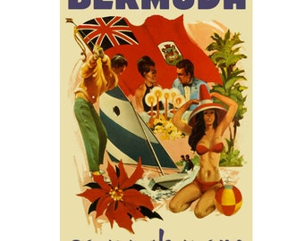BERMUDA 3- Handmade Leather Postcard / Note Card / Fridge Magnet - Travel Art