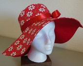 Red Floral and Swirls Sun Hat