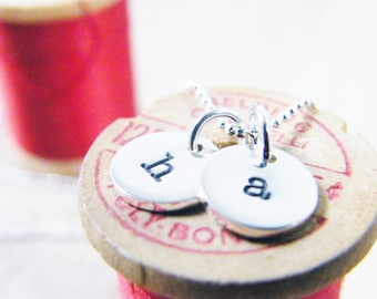 initial necklace / hand stamped alphabet necklace / mommy necklace / monogram necklace / personalized gift