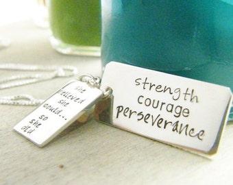 strength courage perseverance handstamped pendant set sterling silver neckace