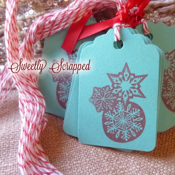 Red and Aqua Snowflake Tags, Peppermint Bakers Twine