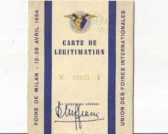 """Vintage Expo Milan Pass, 1954 Fiore De Milano, Carta Di Legittimazione, Official Admission Ticket, Blank and Unused!, 12 5/8 x 4 5/8"""""""