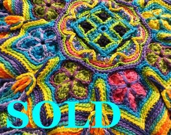 Crocheted Mandala Wall Art Color Wheel-SOLD