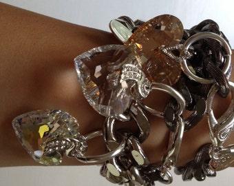 Crazy For U Heart, Chunky Chain Bracelet with Swarovski Crystal Heart