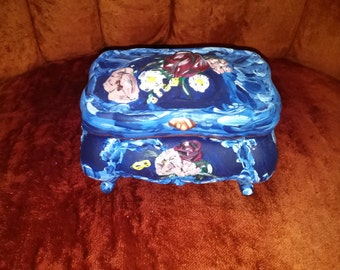 Exquisite Hand Painted and Signed Parisian Painted Pottery Gilded Rose Dresser Jewelry Box