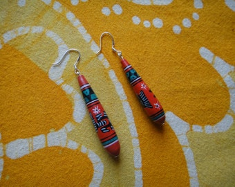 Red Hand Painted Peruvian Ceramic Bead Teardrop Earrings Clay Aztec Geometric Jewelry