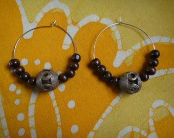 African Brass Trade Bead Hoop Earrings