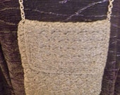 Vintage silver cotton with silver threads crocheted  evening bag with silvertone shrt chain.  WALBOLRG Italy