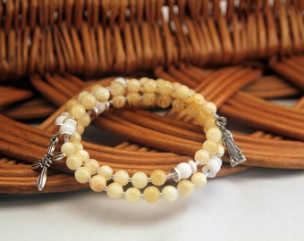 Our Lady of Lourdes Rosary Bracelet, Yellow Calcite and Shell