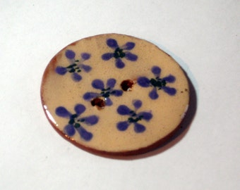 Handmade ceramic buttons - handpainted purple pottery button C13