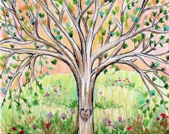 rvore da vav carved heart tree print personalized initial tree drawing custom couple giclee - Tree Drawings