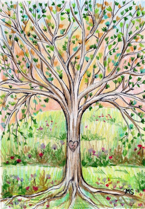 árvore da vavó Carved Heart Tree Print - Personalized Initial Tree Drawing - Custom Couple Giclee Print - Couple Wall Art, Girlfriend Gift