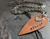 Always Heart Necklace, Copper, Sterling Silver, Mixed Metal, Hand Stamped, Love, Valentine, Gift for  Her