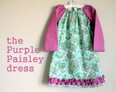 READY TO SHIP Purple and mint paisley long sleeved baby or toddler dress  - size 4T