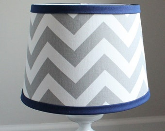 Small White Gray Chevron lamp shade with accent Navy blue.  Other colors available.