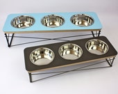 Triple Bowl Modern Pet Feeder - Dog Bowl or Cat Bowl Elevated Feeder Mid Century Modern Design Eames Inspired Assorted Colors Available