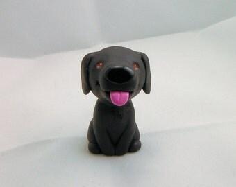 Hand Sculpted Black Labrador Retriever Derp Figurine