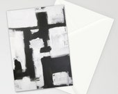 set of 10 BLANK GREETiNG CARDS - abstract painting - modern art - black white - contemporary fine art