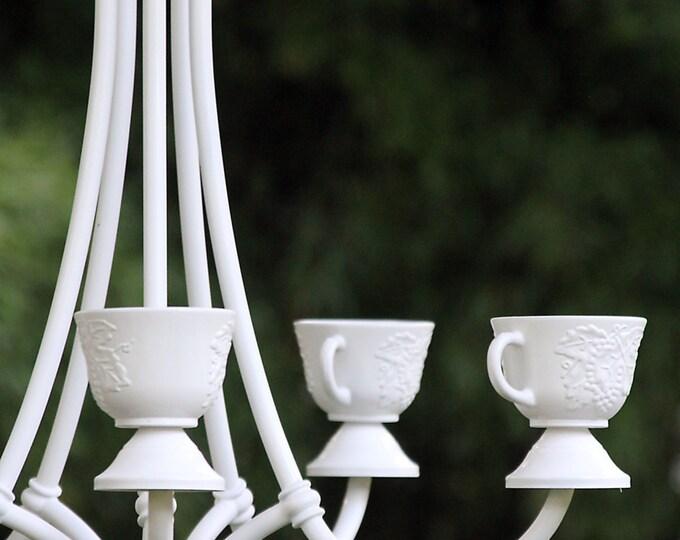 Stylish Summer Chic White Chandelier Planter, Succulent Garden, Bird Feeder, Candlabra, Hanging Patio Porch Light, Small Container Gardening