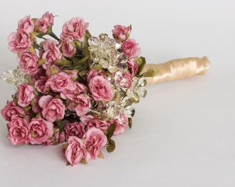 SALE In Stock Rose Pink Wildflower Bouquet Blush Wild Flowers Handmade | Country Wedding | Unique Bridal Bouquet Under 100 Dollars | 1000444