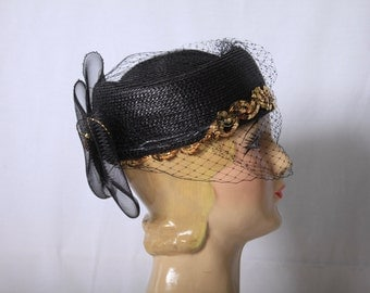 Black Ascot Hat - Vintage 80s - Kentucky Derby Sequin Hat
