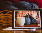 Knitting Notecard: Coffee & Handspun