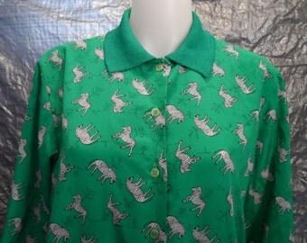 Vintage Green Zebra Print 80's Blouse  L