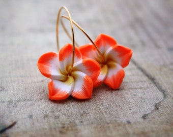 Orange Flower Earrings Hawaiian Flower Flower Jewelry Plumeria Frangipani Wedding Jewelry Bridesmaid Hawaii Jewelry Hawaiian Jewelry 024