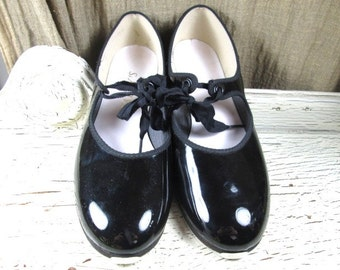 ladies girls great PATENT leather like new TAFFEY'S dance TAP 8 1/2 shops