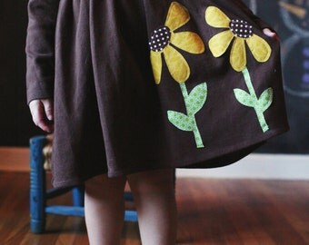 Fall Dress for Girls and Toddlers - Applique Dress - Sunflower Personalized Dress  - You Choose Dress Color and Sleeve Length