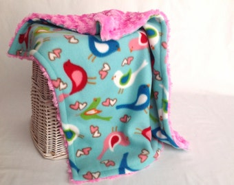 Birdie Travel Blanket with Hot Pink Minky Swirl - Baby Girl Lovey - Bird Baby Blanket - Security Blanket - Minky Lovey - Doll Blanket