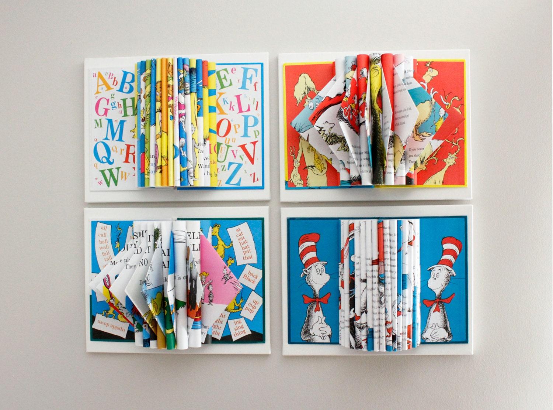 Nursery Room Art Dr Seuss Art Dr Seuss Book Sculptures New