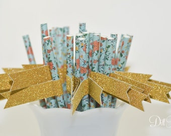 Blue Vintage Floral Paper Straws with Gold Glitter Flags - 24 count