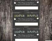 Baby Shower Diaper Raffle Ticket - Printed or DIY