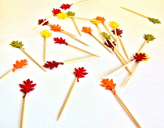 25 Autumn Fall Colored Oak Leaf Mini Cupcake Toppers - Party Picks - Food Picks