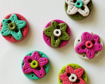 Button Antiqued Rustic Flower stained handmade polymer clay buttons ( 6 )