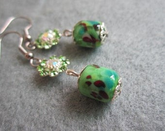 Green Corsage, Lampwork Glass Bead Earrings