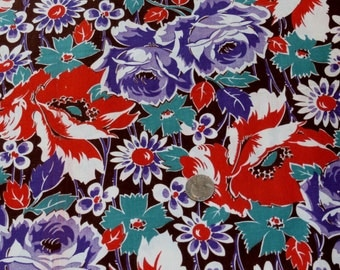 """Vintage 1940s Cotton Fabric Yardage, Large Purple and Red Flowers, 34 1/2"""" x 1 Yard, 4 Available"""