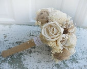Country Wedding Bridal Bouquet, Sola Flowers, Burlap Roses, Wheat, Mini Pine Cones, Tallow Berries. Made to Order.