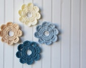 Decorative Crochet Mini Wreath Wall Hangings & Picture Frames   Home and College Dorm Decor - Wedding Beach Ocean